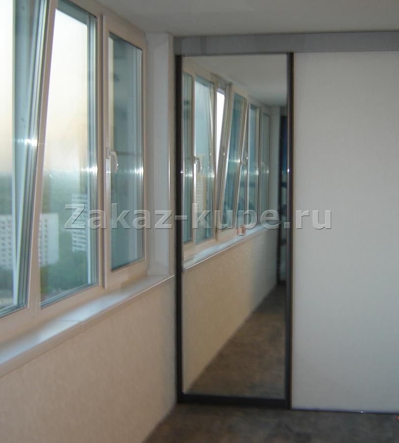 Зеркальная дверь купе на лоджии 233.